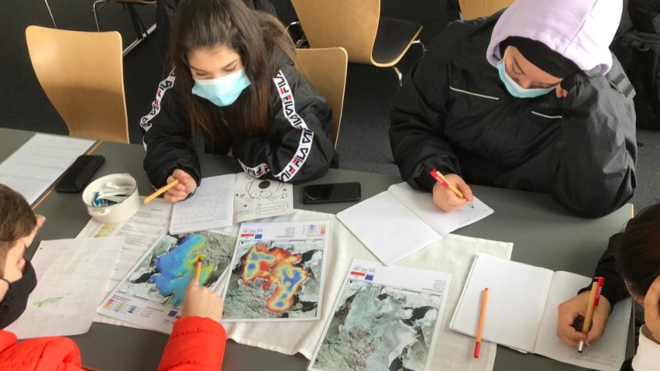 Students working with masks