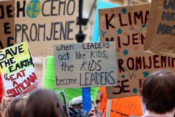Bilde fra skolestreik for klima